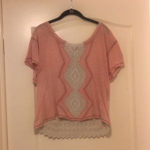 Small pink and cream Free People top